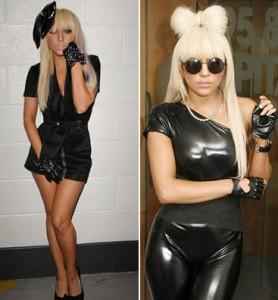 lady-gaga-black-dress-and-liquid-leggings-BellaPetite.com