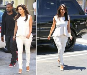 Kim-Kardashian-White-skinny-Jeans-Peplum-top