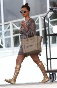 Kourtney-Kardashian-miami-sheer-print-dress-gladiator-sandals