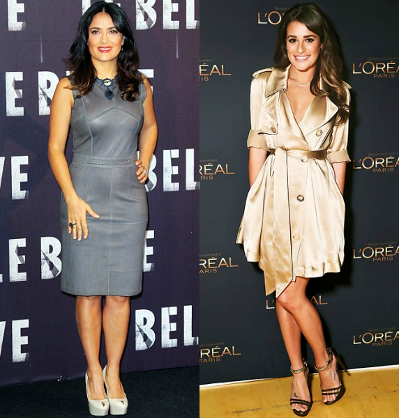 Petite Celebrity Fashion Style Salma Hayek And Lea Michele