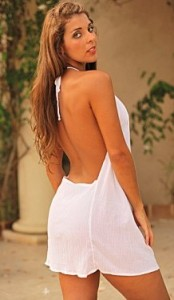 White Gauze Backless on the Beach