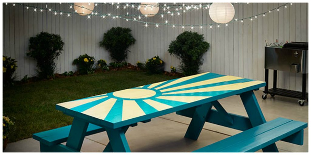 Outdoor Picnic Table Painted by Vanessa Deleon