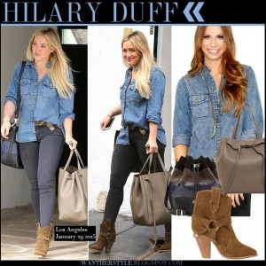 Bella Petite Celebrity Hilary Duff in blue denim shirt grey skinny jeans and brown suede ankle boots