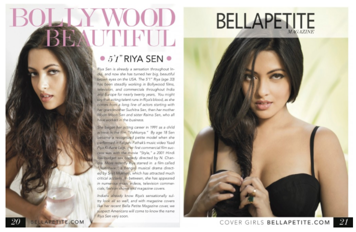 Riya Sen Famous Bollywood Star Bella Petite cover and editorial profile interview with Bella Petite Ann Lauren.