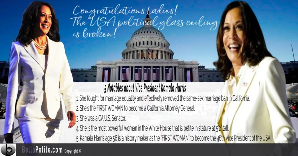 46th US Vice President Kamala Harris  first petite woman Bella Petite Magazine  Ann Lauren Bellapetite.com Ann Lauren Dolls